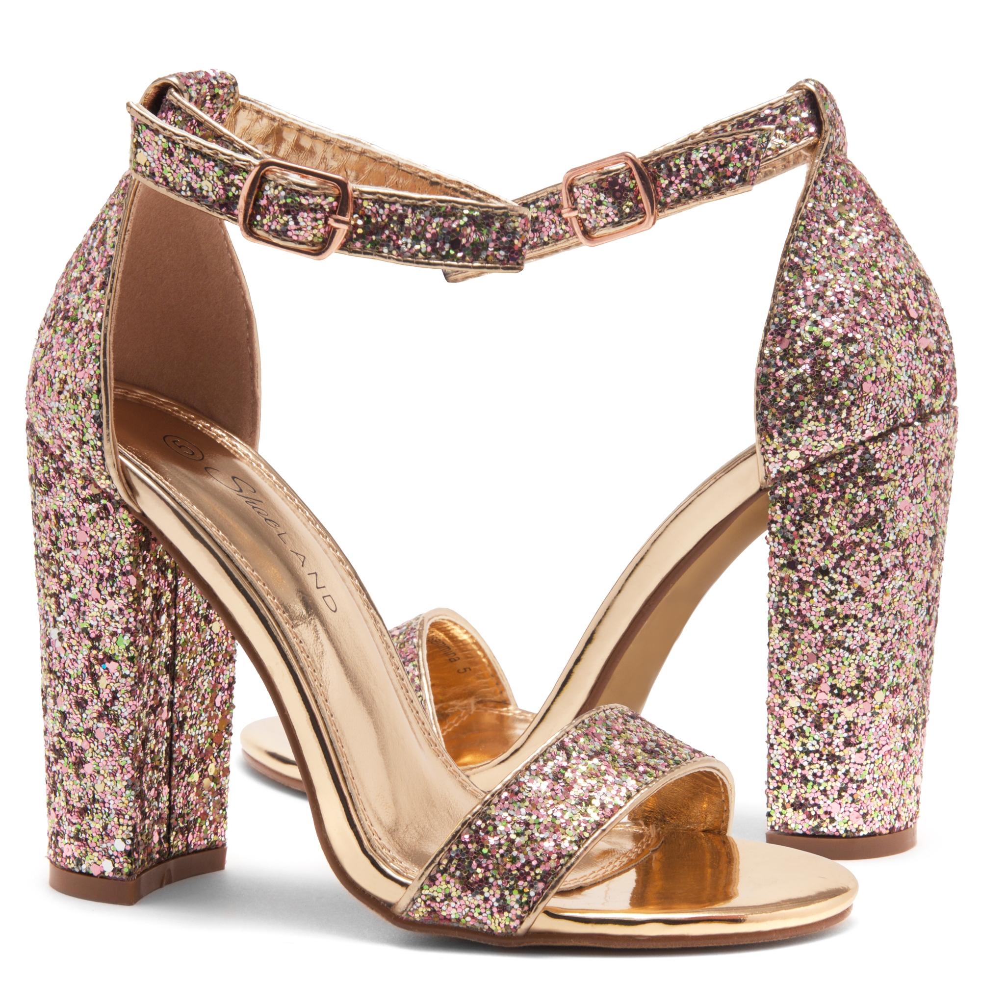 c97854731df9 HerStyle Rosemmina Open Toe Ankle Strap Chunky Heel (RoseGoldGlitter)
