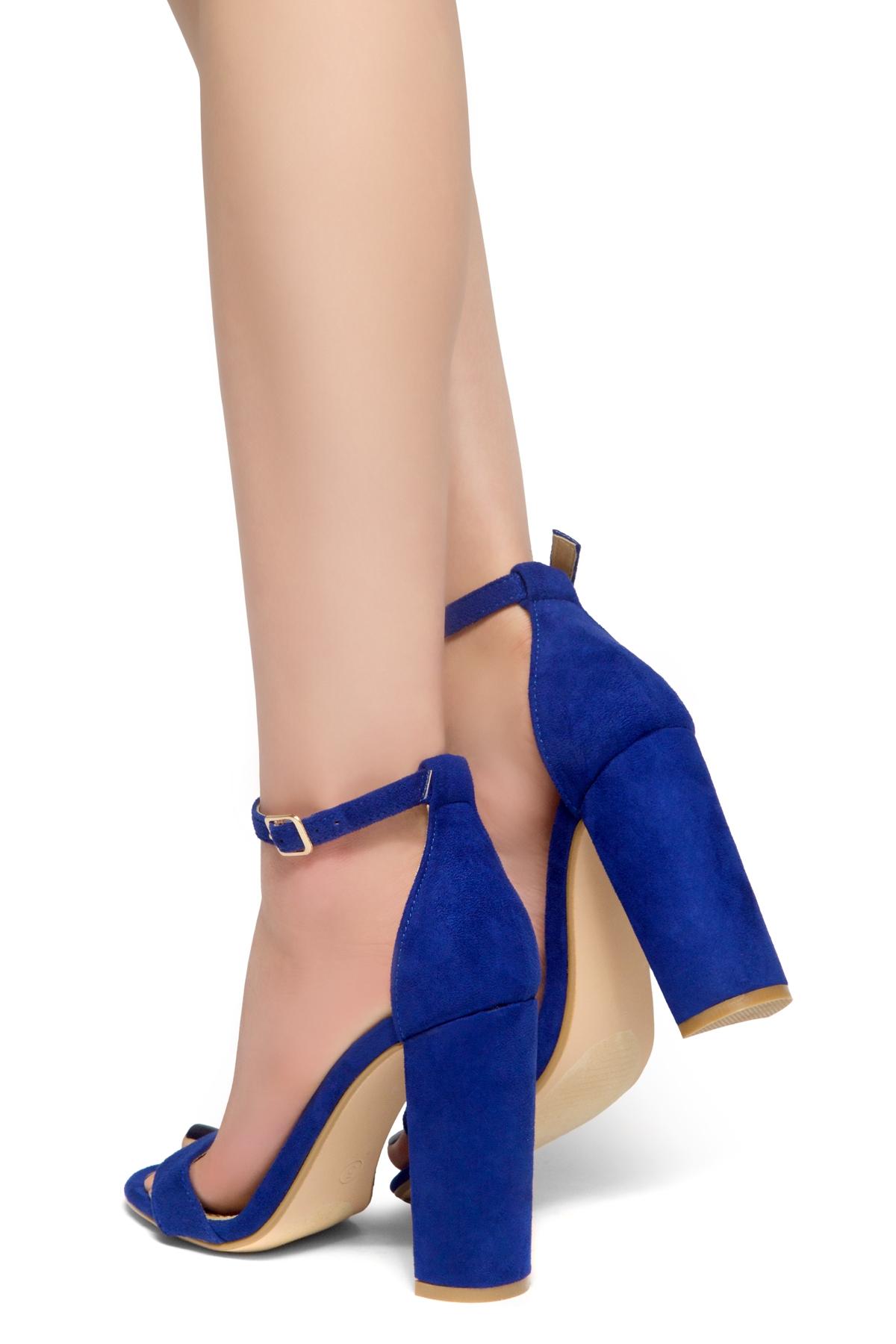 72663e9074154 Blue Chunky Heels - Js Heel