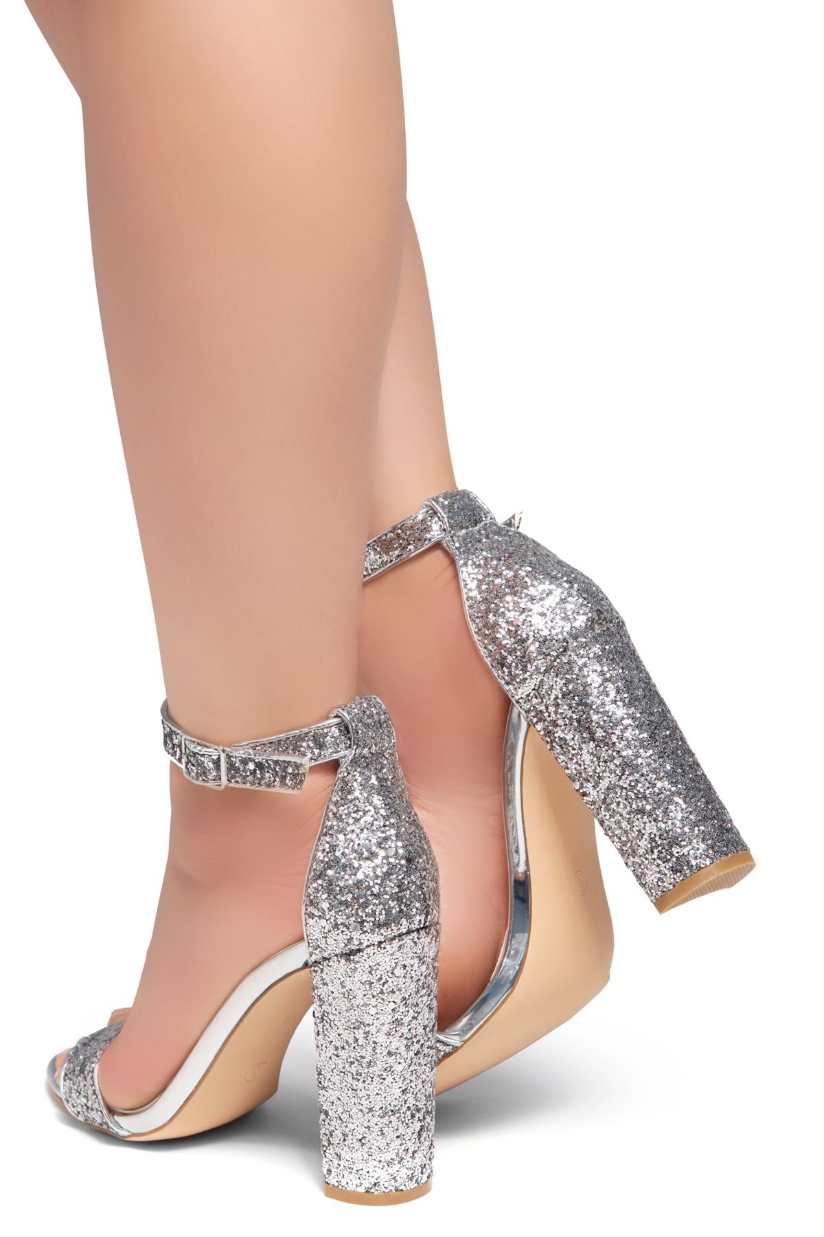 ee0b5591b07f HerStyle Rosemmina Open Toe Ankle Strap Chunky Heel (SilverGlitter)
