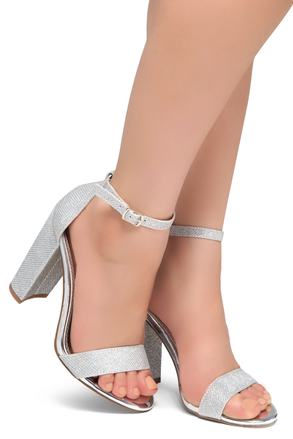 e6e37d863e00 HerStyle Rosemmina Open Toe Ankle Strap Chunky Heel (Silver ...