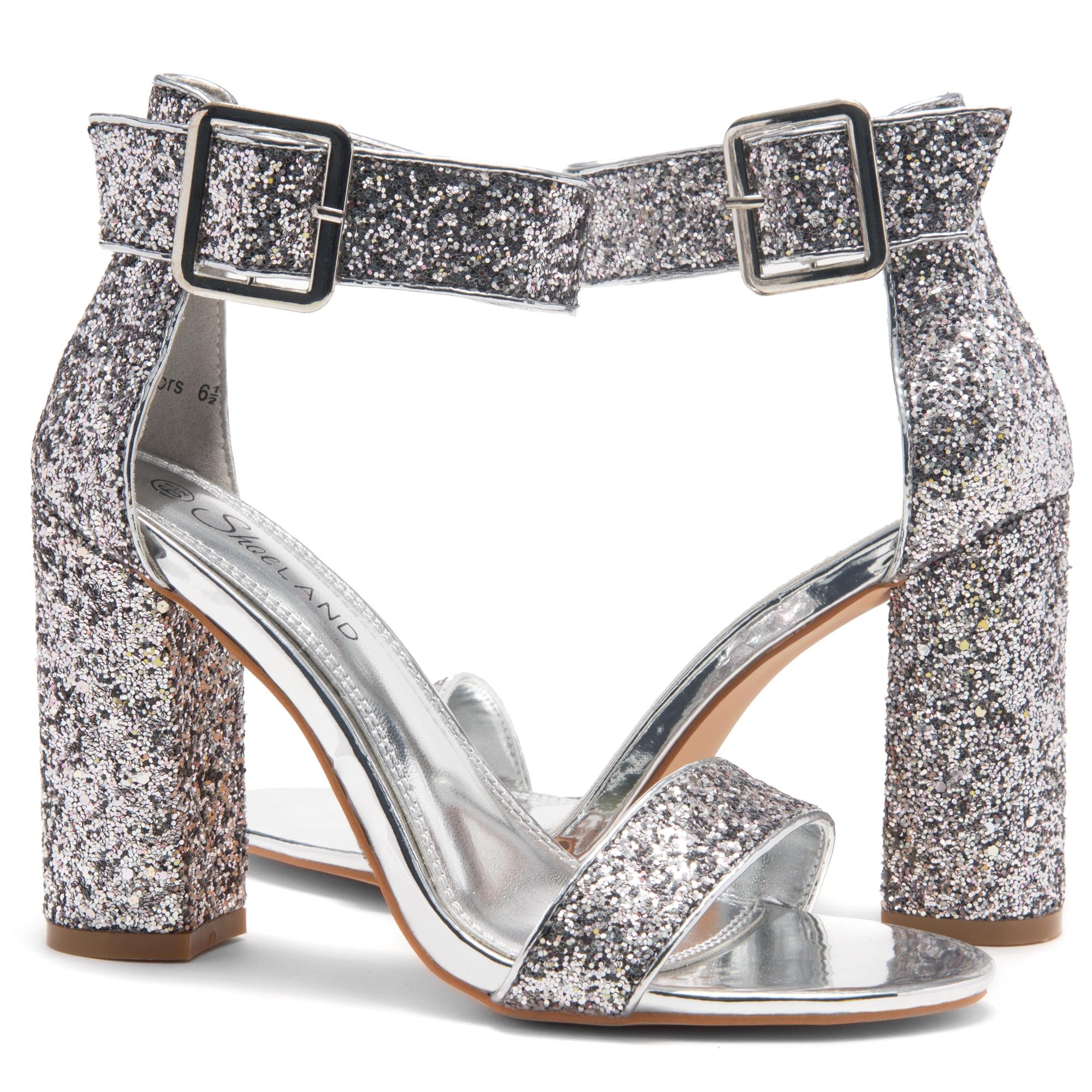360834befe184 HerStyle Rumors-Glitter, Chunky heel, ankle strap (Silver Glitter)