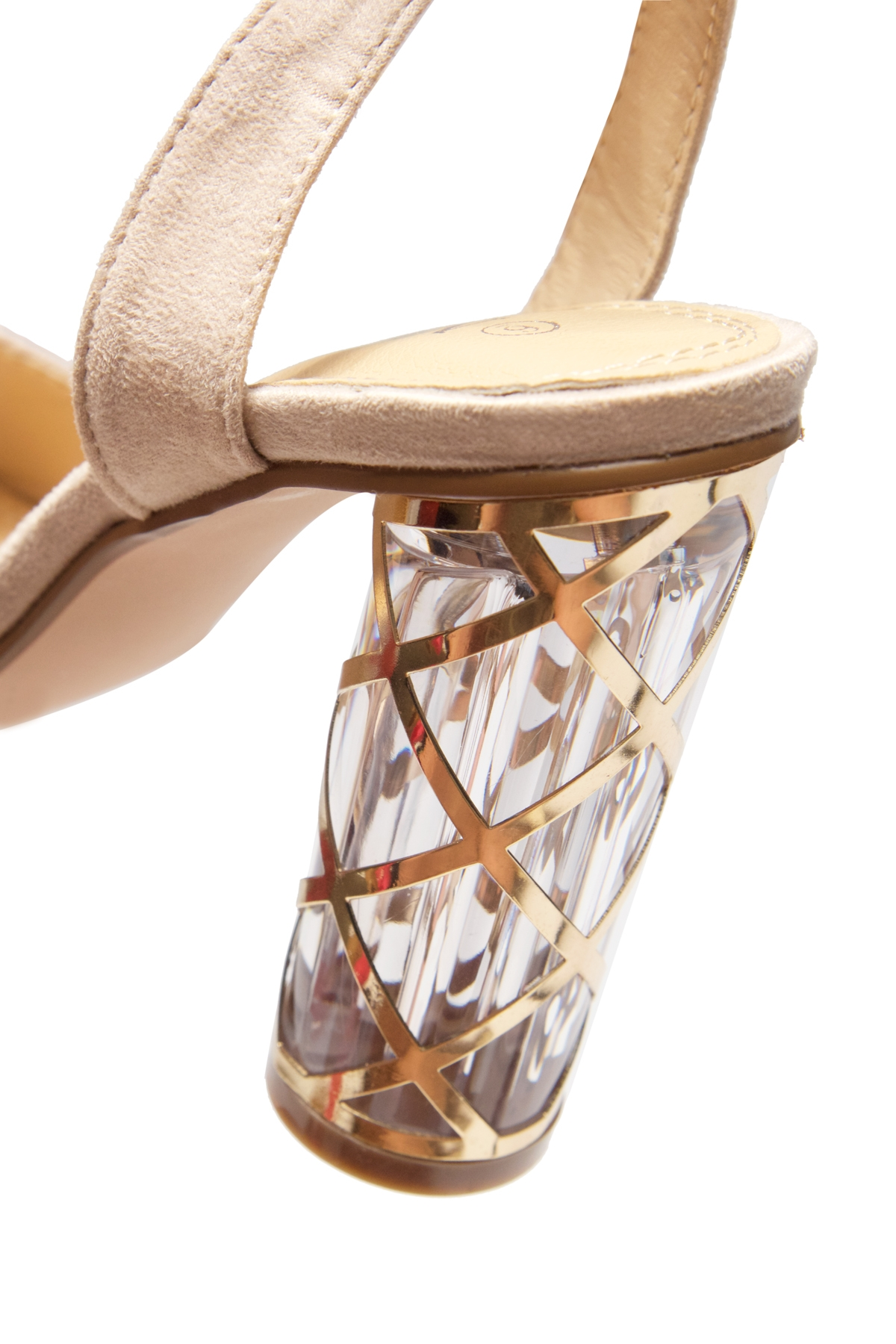 a606d0c38 HerStyle Shine Factor-Perspex cylinder heel, Open Toe, Ankle Strap Sandals  (Nude)