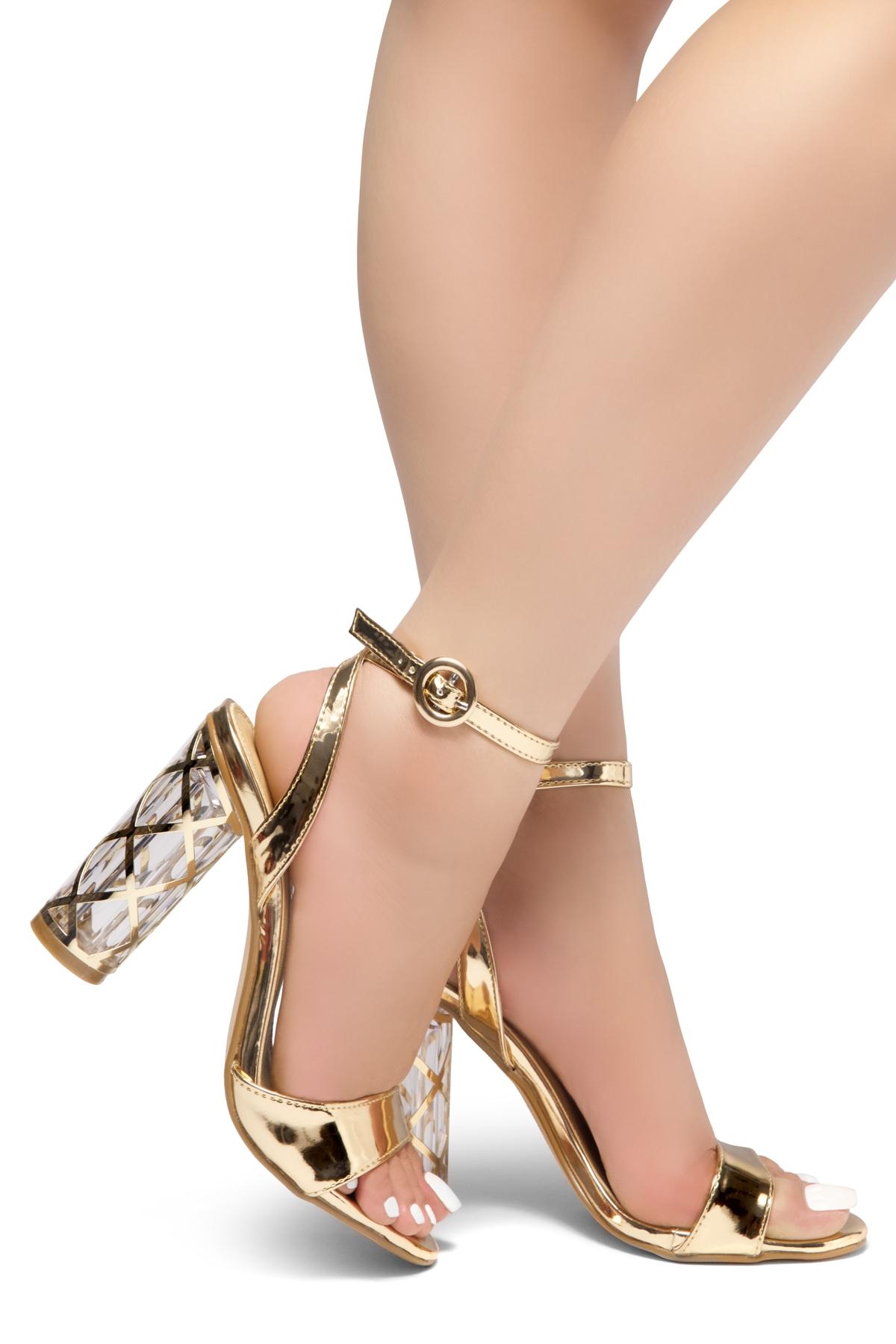 426b69635 HerStyle Shine Factor-Perspex cylinder heel, Open Toe, Ankle Strap Sandals  (RoseGold)