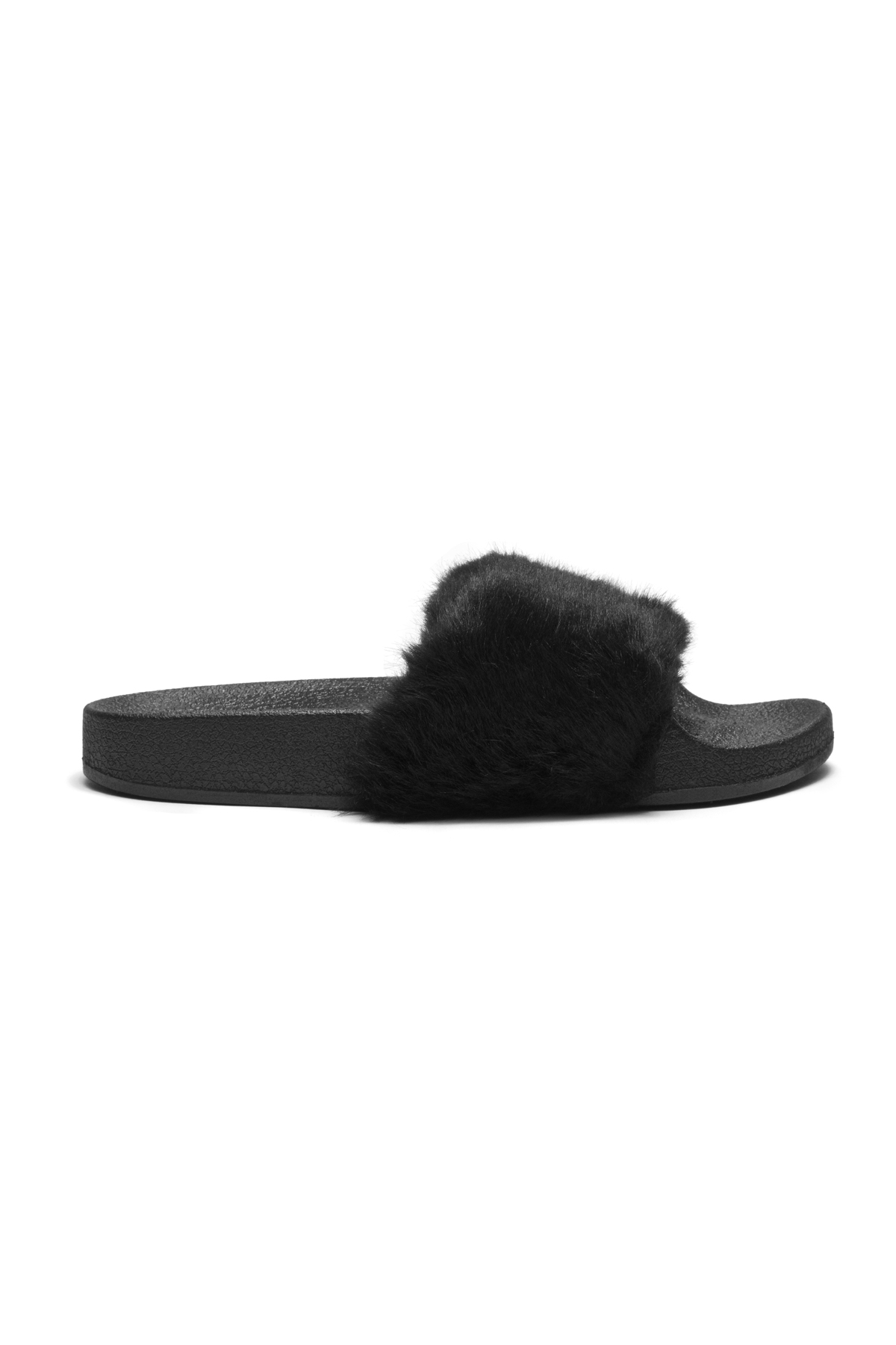 44adc4f89cdd Herstyle Women s SL-160801 Faux Fur Slide Sandal(Black)
