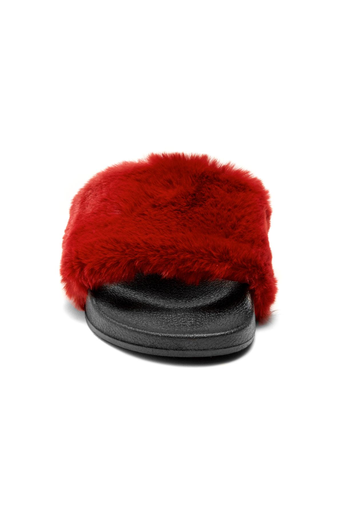 1bec4848f13c Herstyle Women s SL-160801 Faux Fur Slide Sandal(Burgundy)