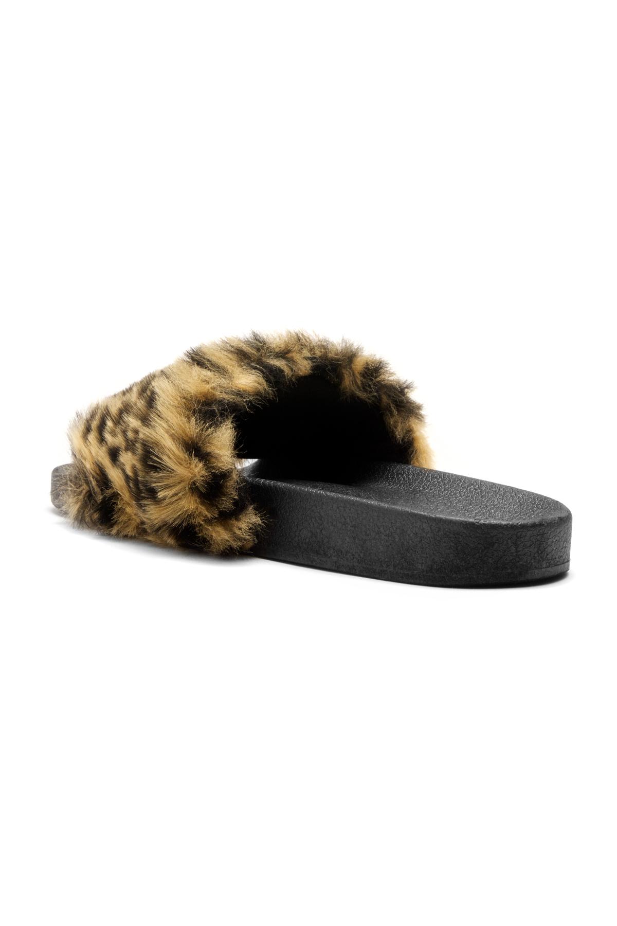 087840217644 Herstyle Women s SL-160801 Faux Fur Slide Sandal(Leopard)