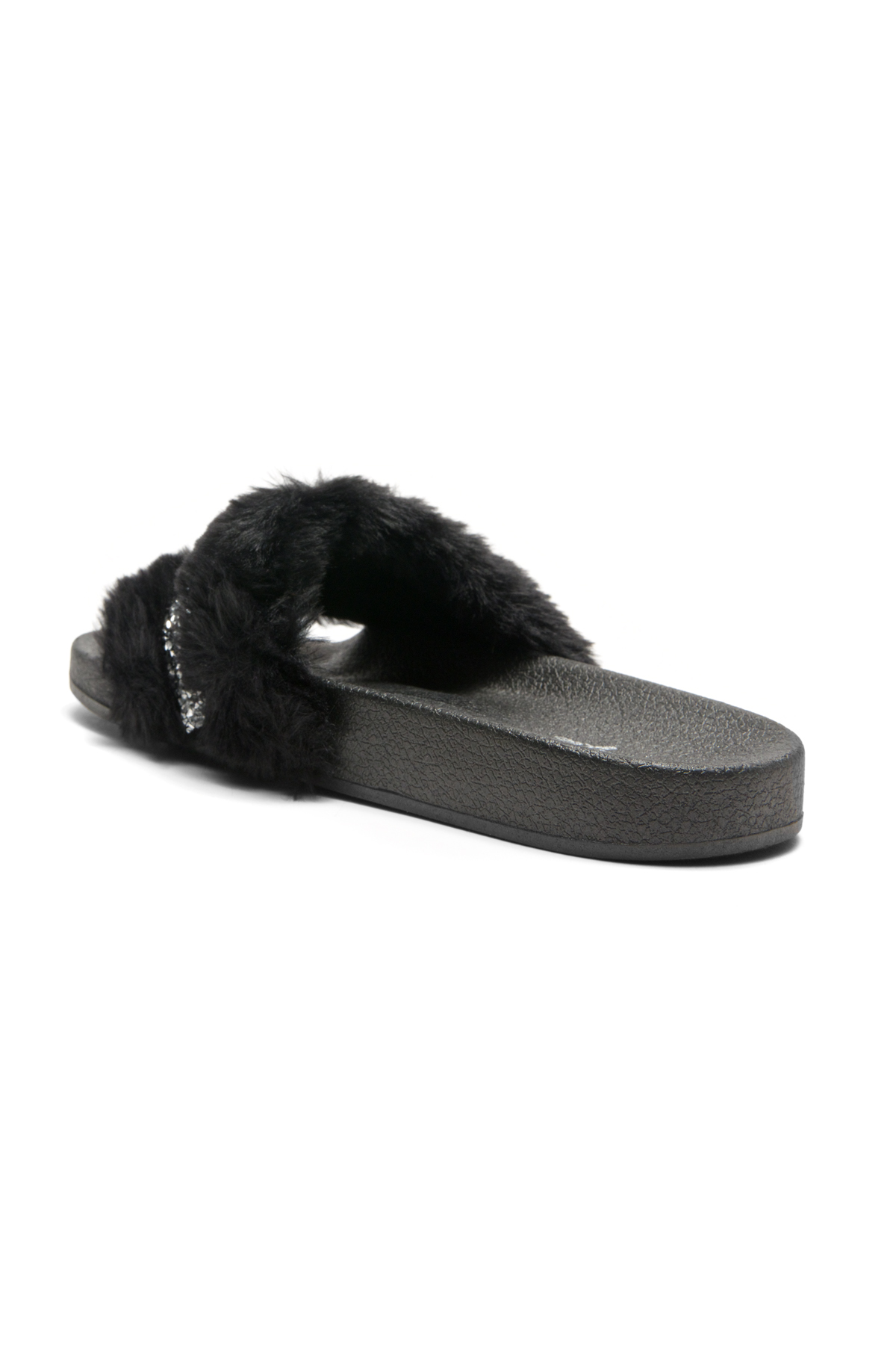 89f509a2d HerStyle SL-16110101 Faux Fur Slide Sandal with Rhinestone Accent (Black)