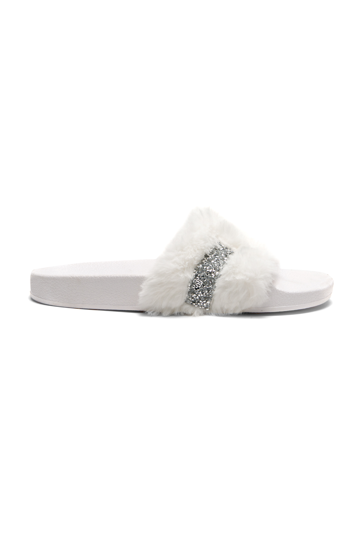 38c7991ab HerStyle SL-16110101 Faux Fur Slide Sandal with Rhinestone Accent (White)