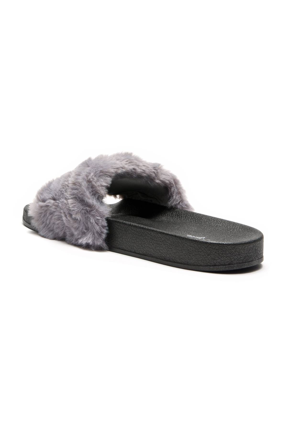 6bcc0cb9b HerStyle SL-16110102 Faux Fur Slide Sandal with chain Accent-Grey