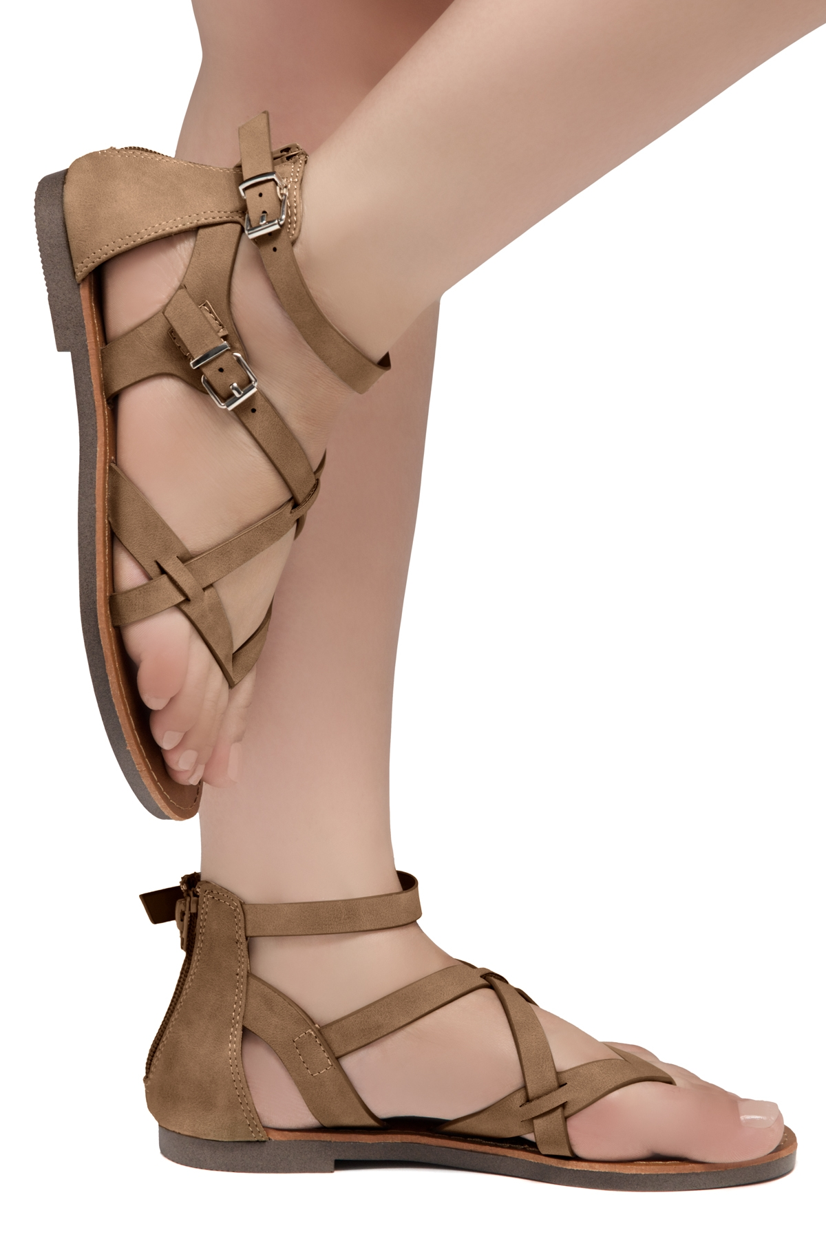 Details about  /LMK112 T-Strap Thong Toe Gladiator Flats Sandals Women Shoes Beige 7