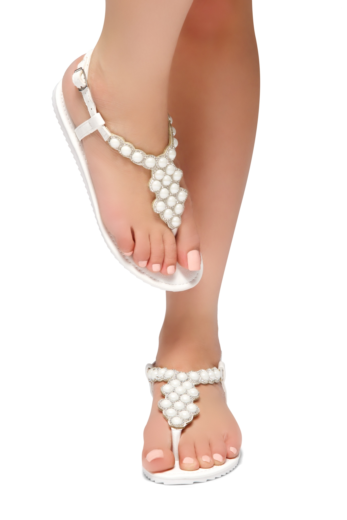 8299a94023d HerStyle Summer Grow- T-Strap Thong Sandals with Patterned Beads Jeweled  Vamp (White)
