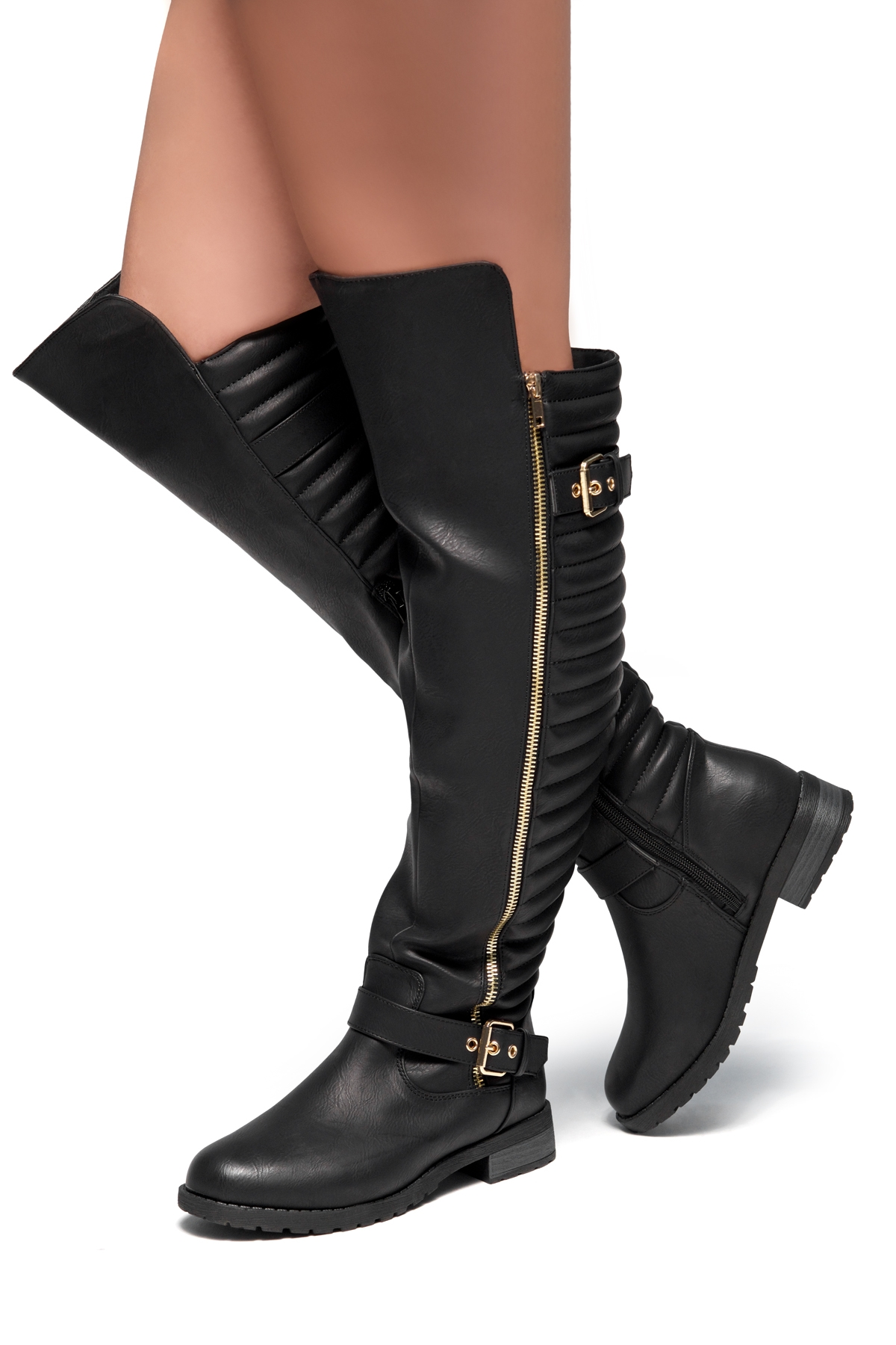 ae05e4e0a HerStyle Tense-Double Buckle with zipper detail Over-The-Knee Riding Boots  (Black)