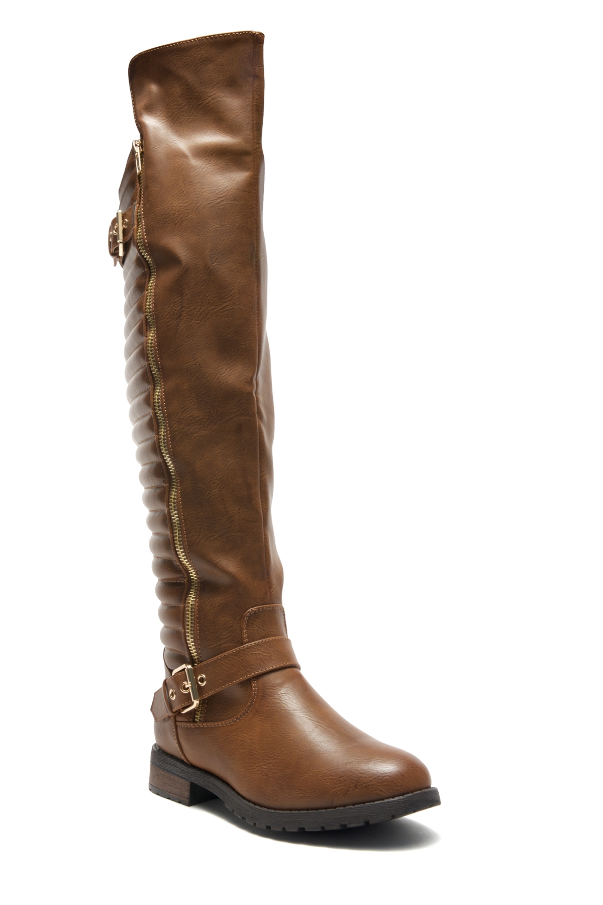 0347e0b61 HerStyle Tense-Double Buckle with zipper detail Over-The-Knee Riding Boots  (Tan)