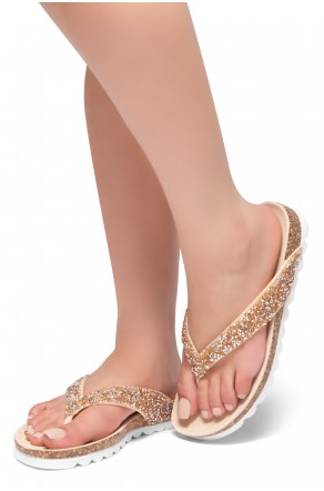 Gold Rhinestone Open Toe Thong Sandal